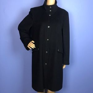 Michael Kors Wool Long Black Pea Coat Trench
